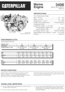 CAT 3408 Marine Specficiation Engine